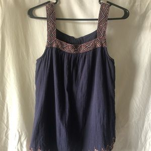 Navy KNOX ROSE tank top embroidered straps&bottom